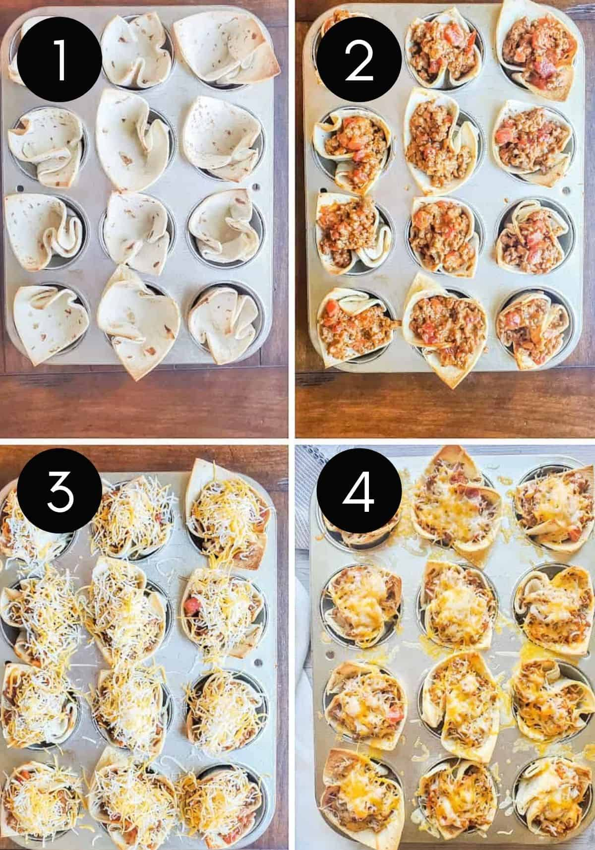Four prep images showing taco bites being prepared in muffin tin with numbered photos.