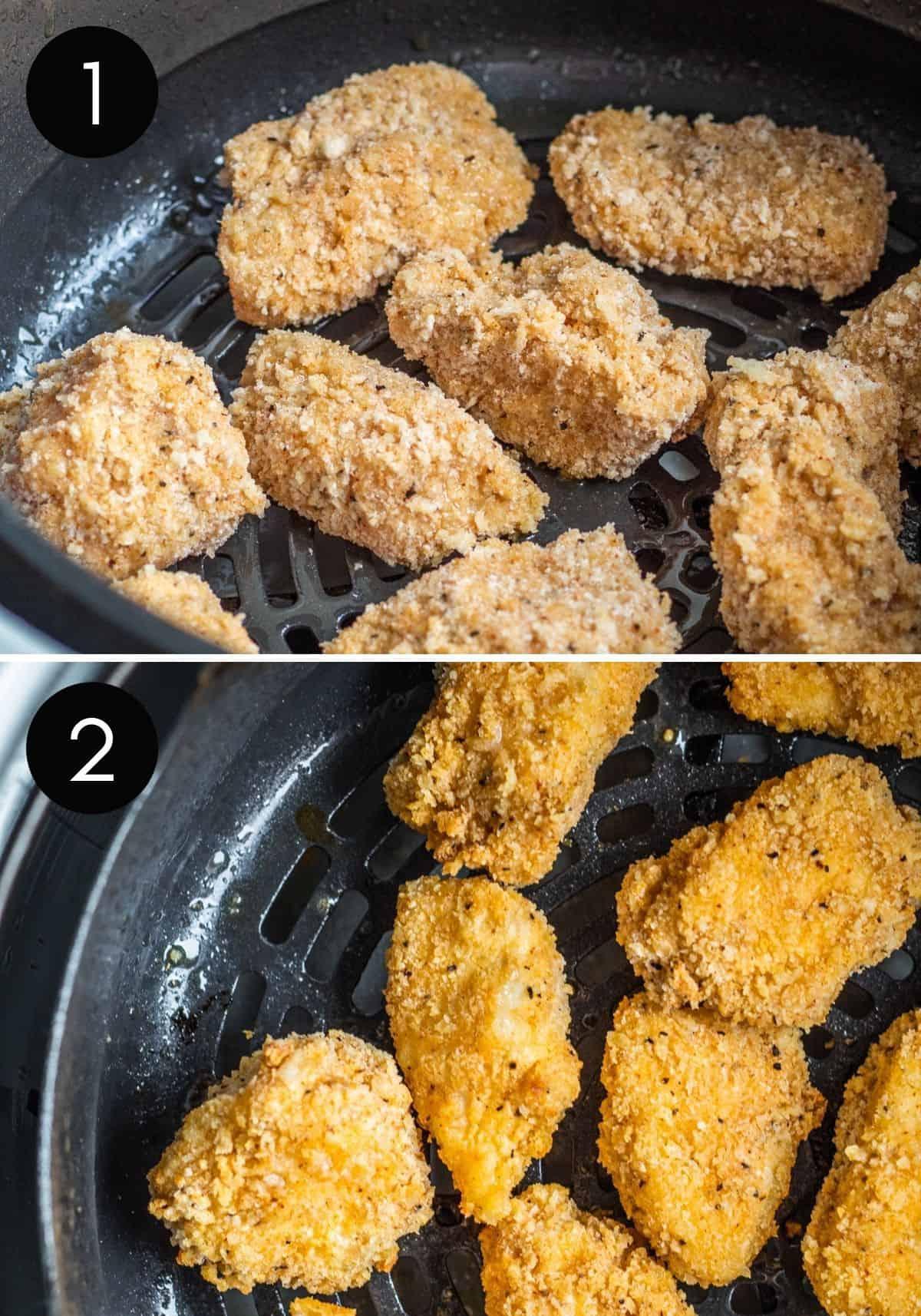 Popcorn chicken being air fried.