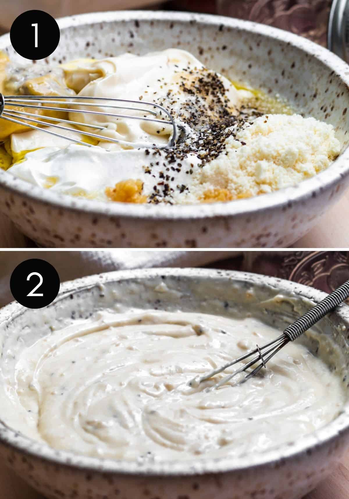 Prep image collage showing dressing being prepped and whisked in white bowl.