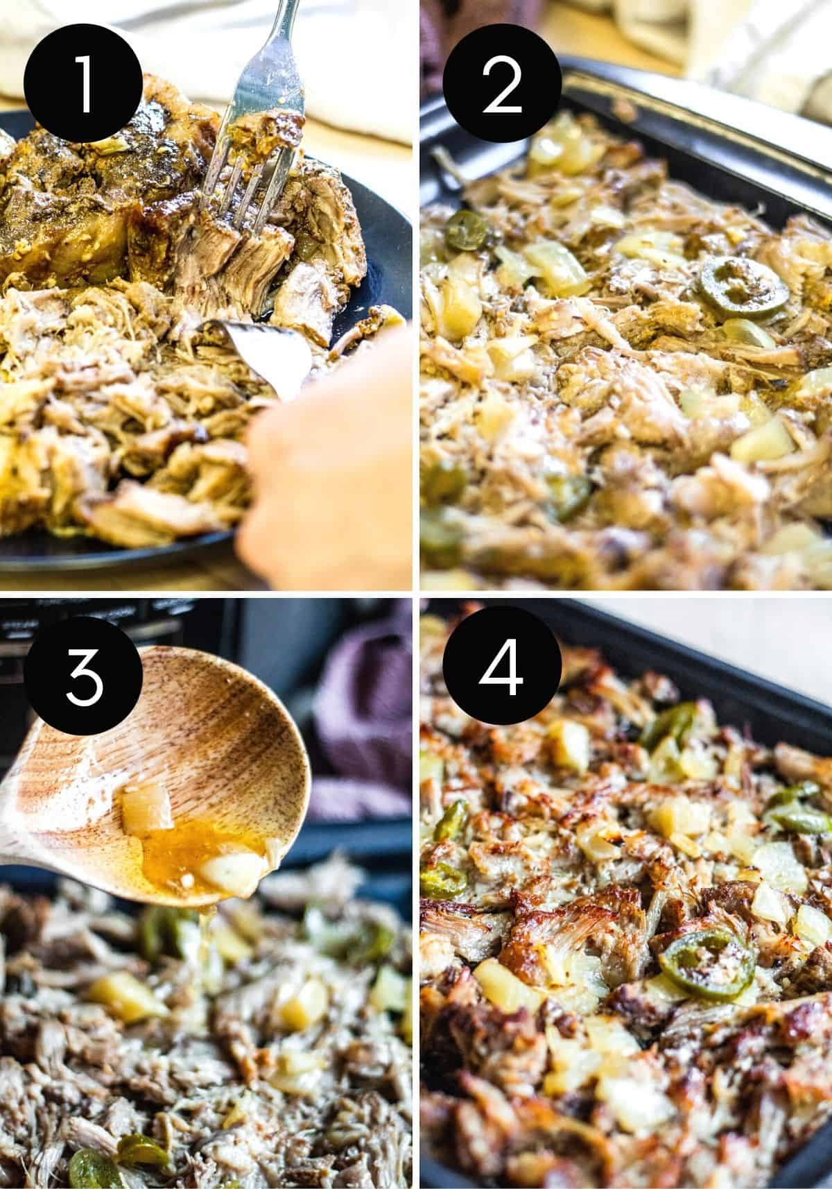 Four prep image collage showing pork be shredded and broiled.