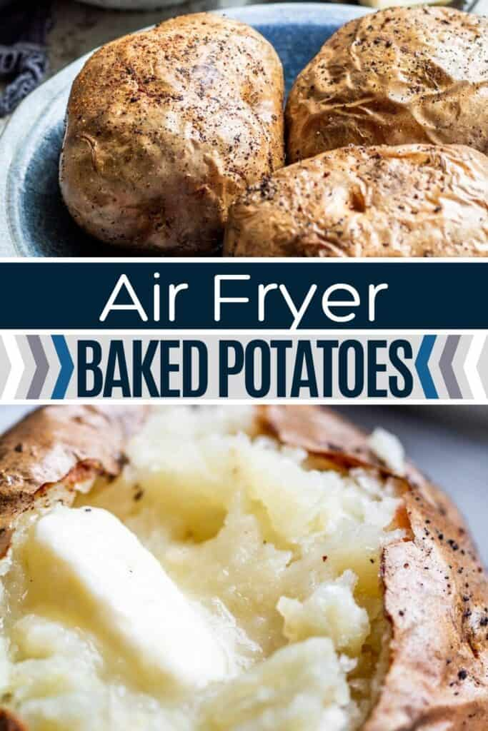 Pin image for baked potato with two pictures and blue and white text overlay.