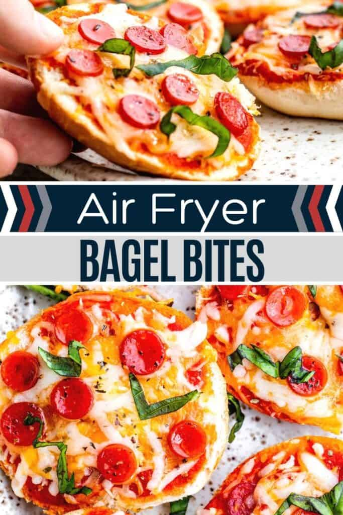 Pin for bagel bites with two images of finished recipe and white and blue text overlay.
