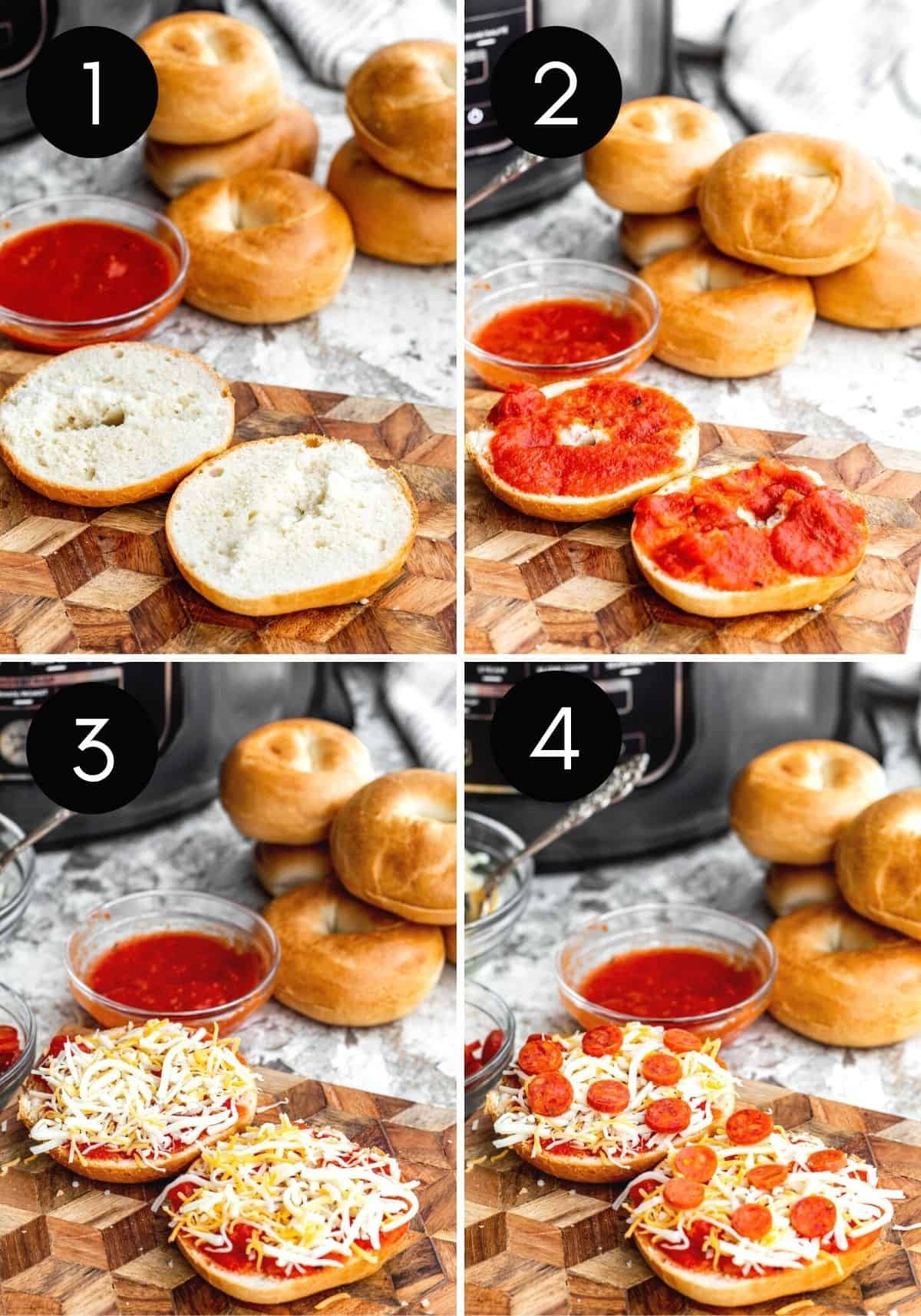 Prep image collage with four images of bagel bites being made with numbered pictures.