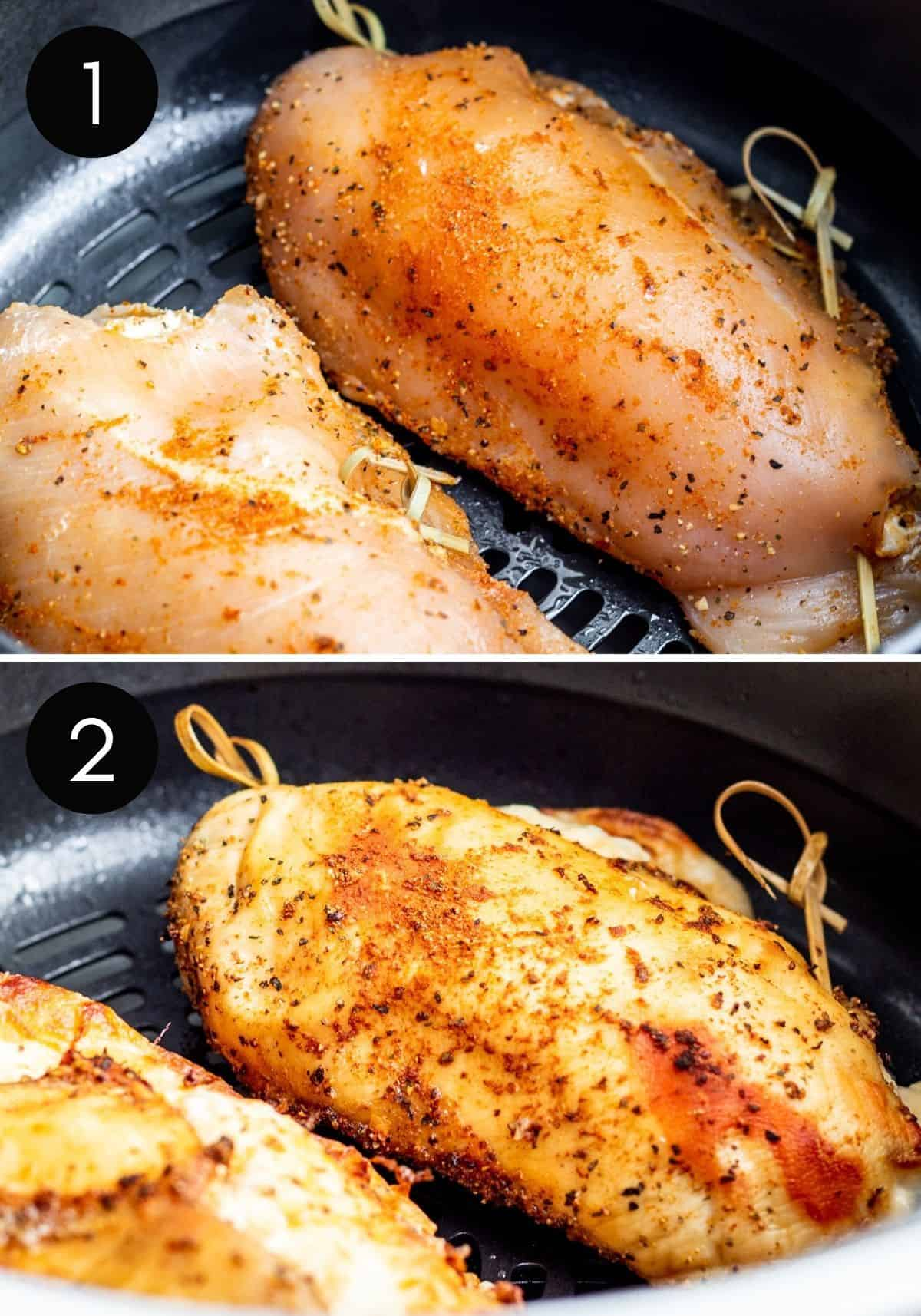 Two prep image collage showing chicken being air fried with black and white numbers.