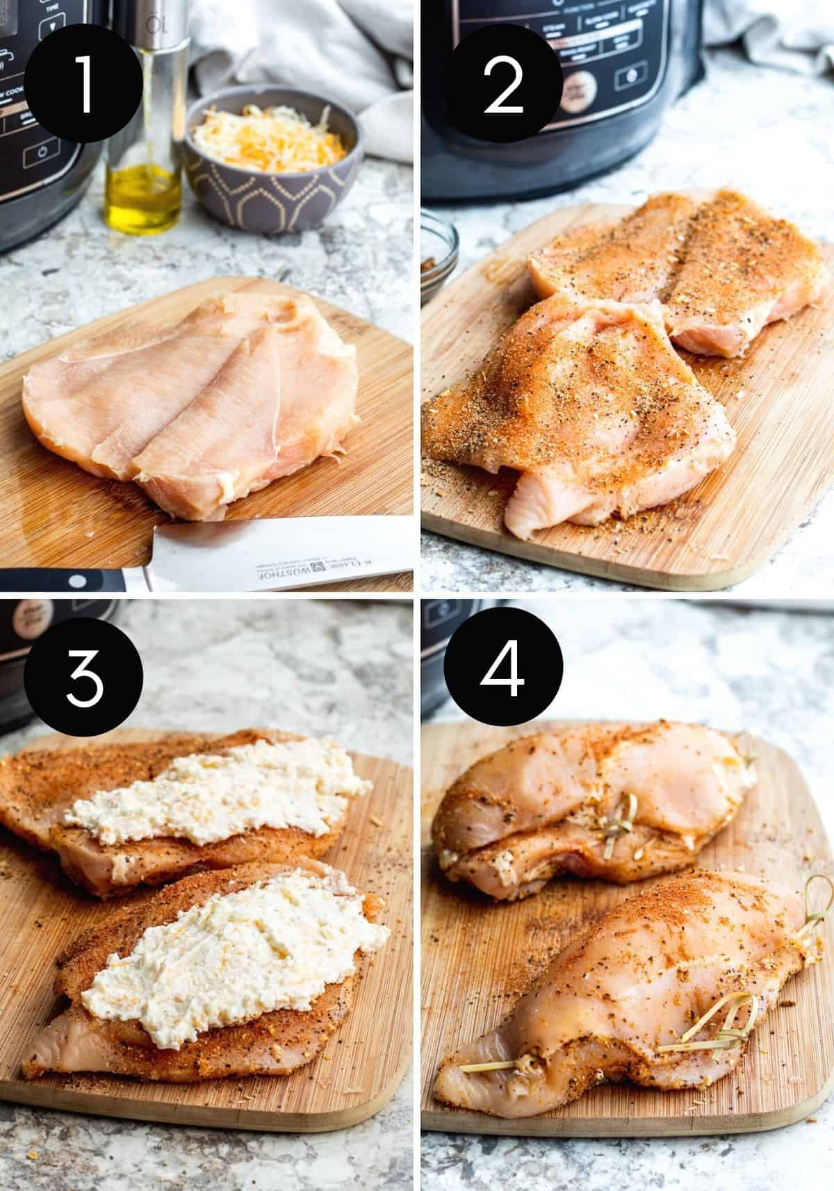 Four prep images showing chicken breasts being sliced, filled with cheese and closed with black and white numbers.