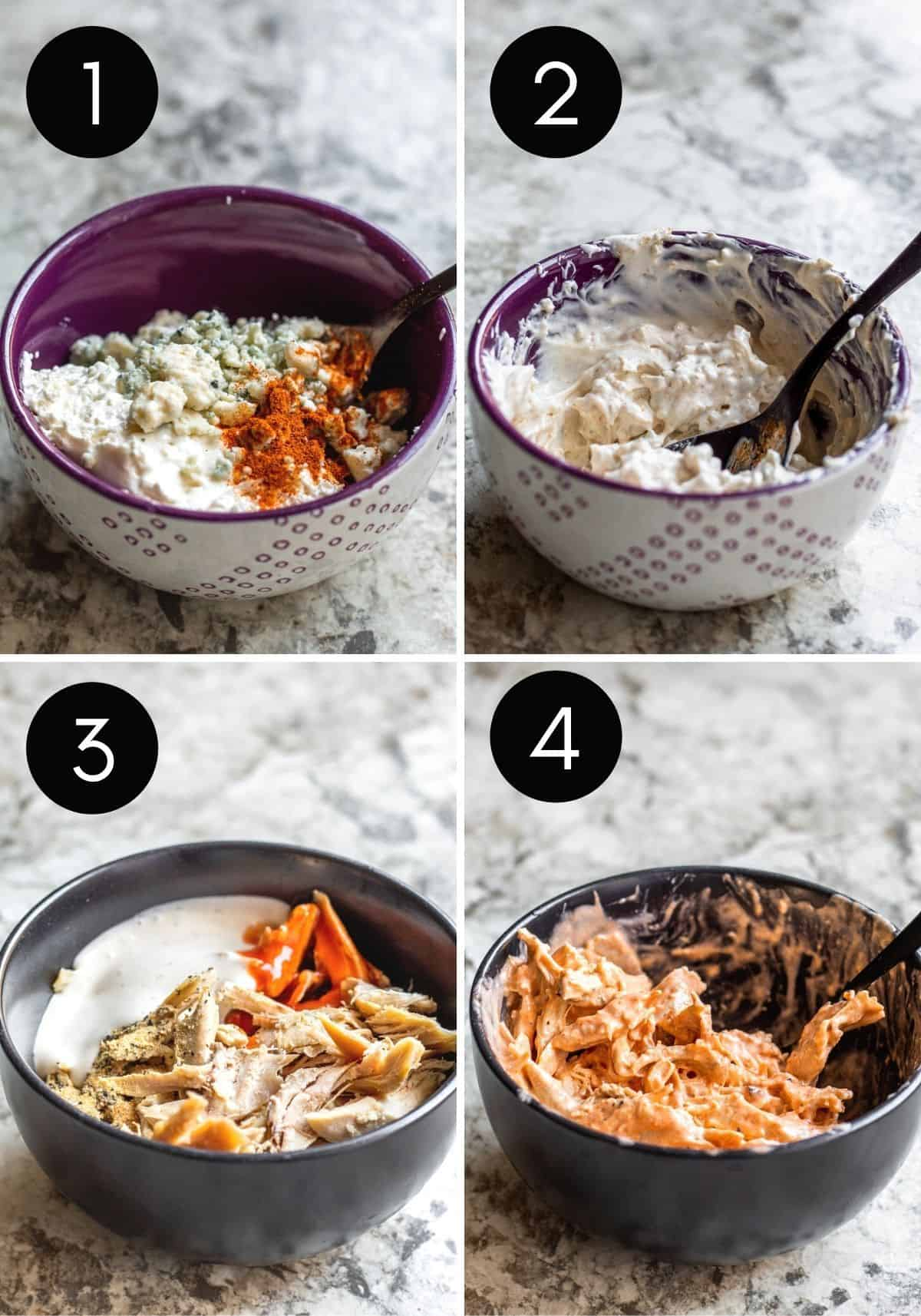 Four prep images with numbers of cheese spread and buffalo chicken being made.