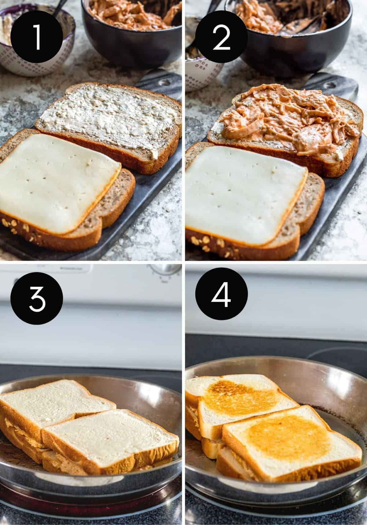 Four prep images showing grilled cheese be filled then cooked.