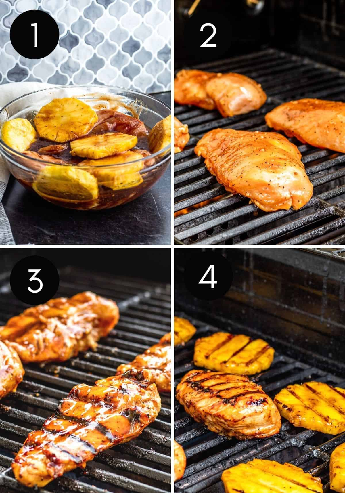 Four image collage showing chicken being prepped and grilled.