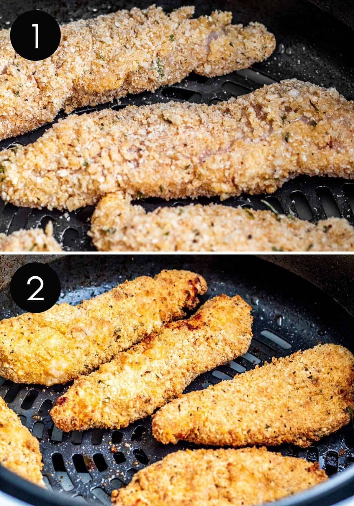 Two prep images showing chicken being air fried.