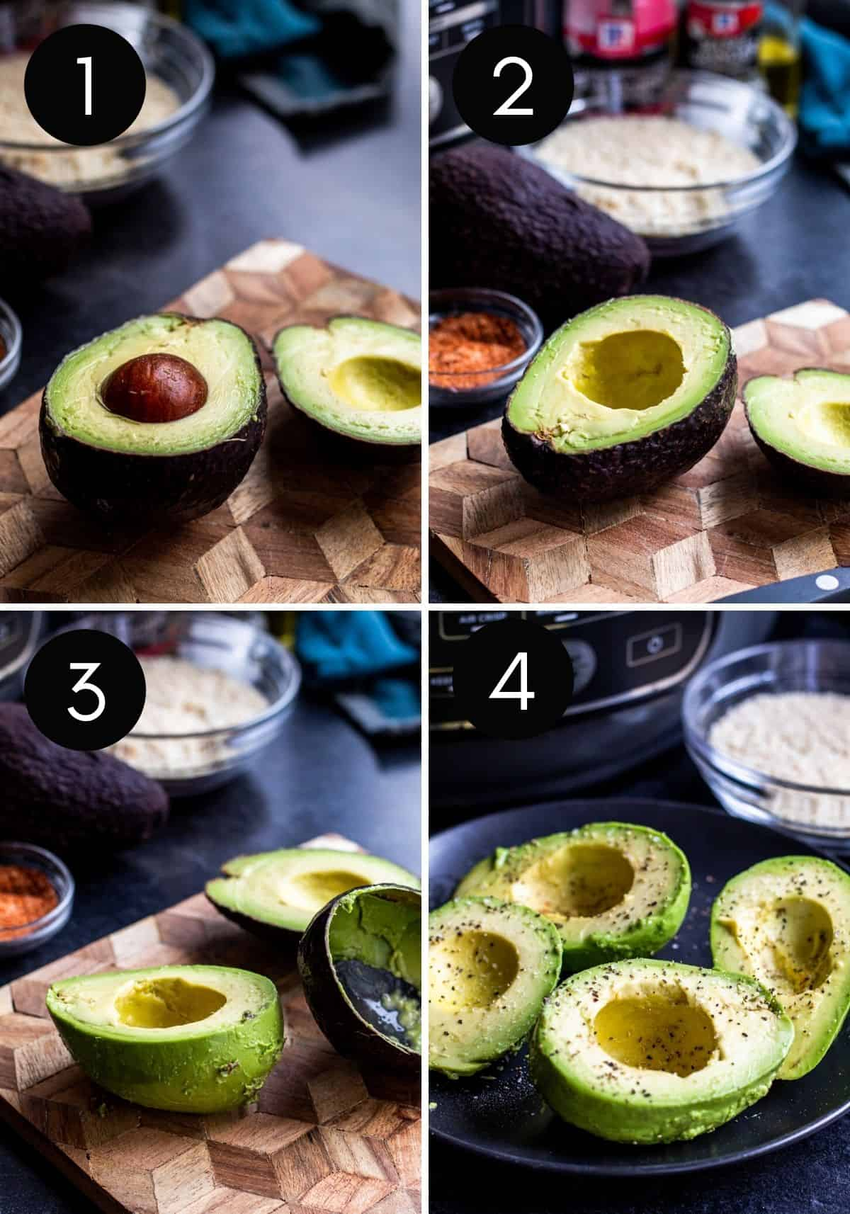 Four prep images of avocados being slices and peeled.