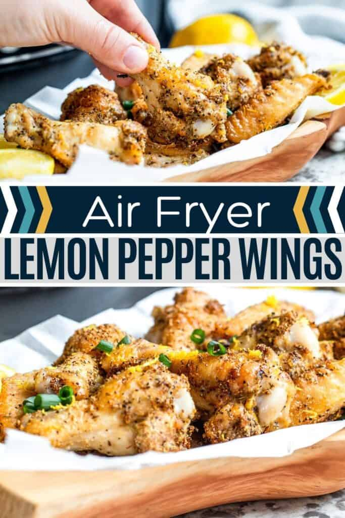 Pin for lemon pepper wings with two image and white and blue text overlay.