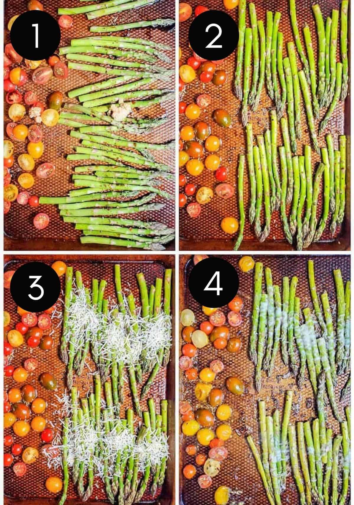 Four prep image collage showing asparagus get baked on pan with tomatoes and cheese.