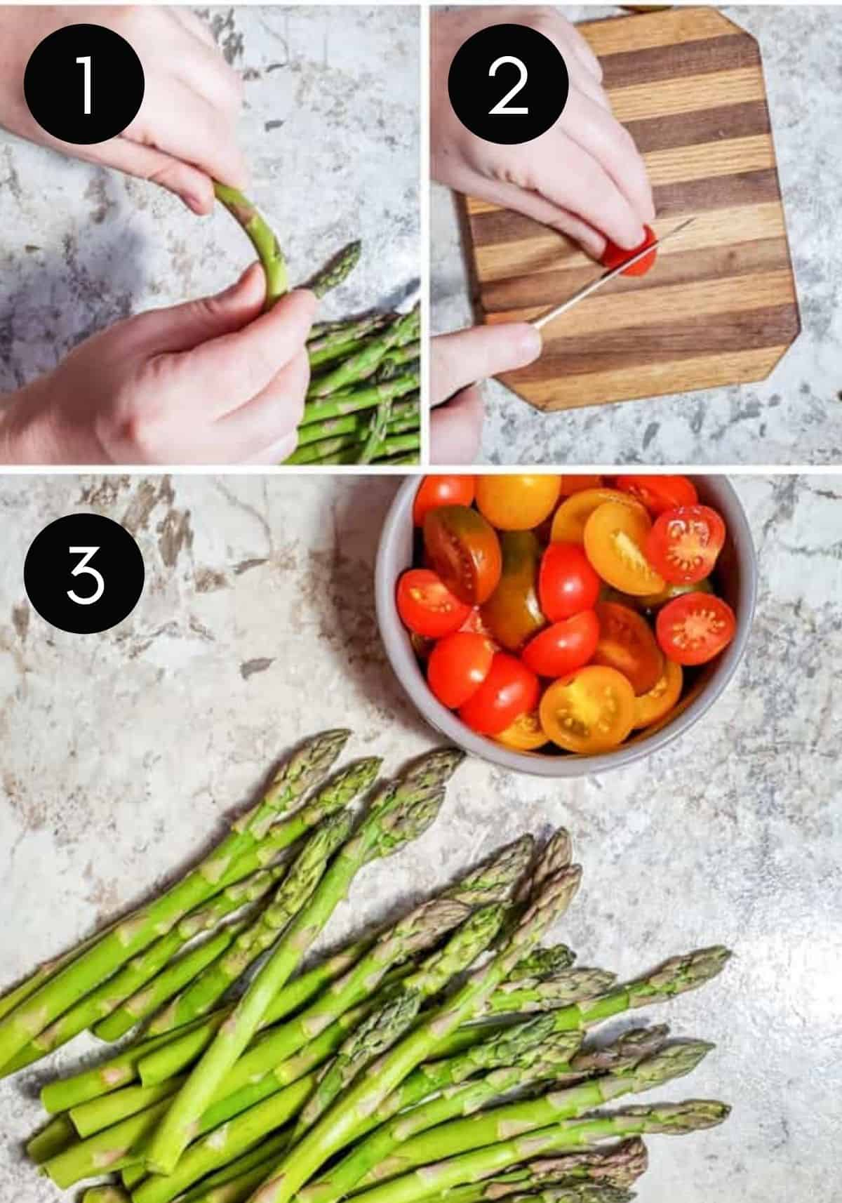Three prep image collage showing tomatoes and asparagus get prepped.