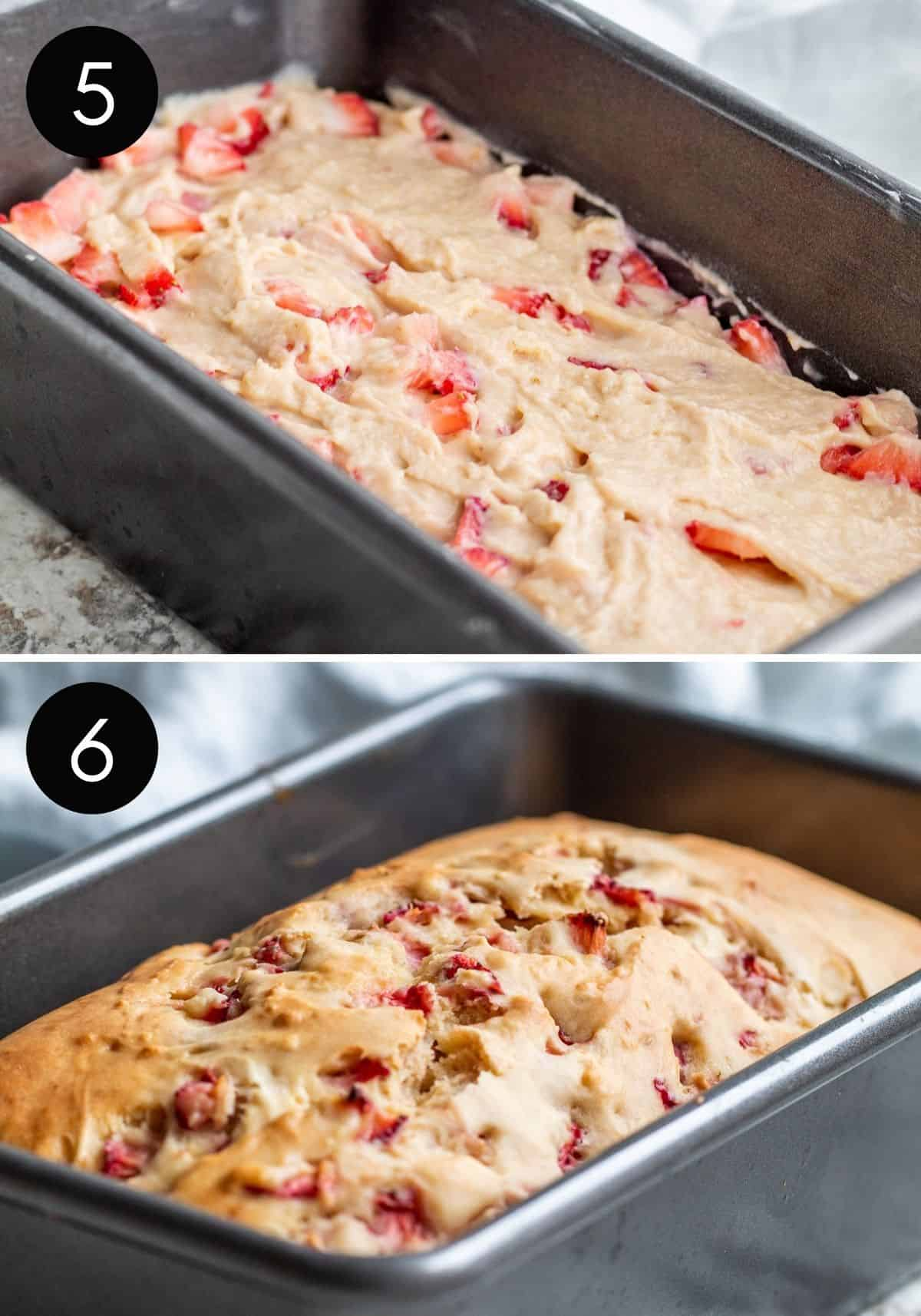 Two image collage with batter being put in pan and finished strawberry bread.