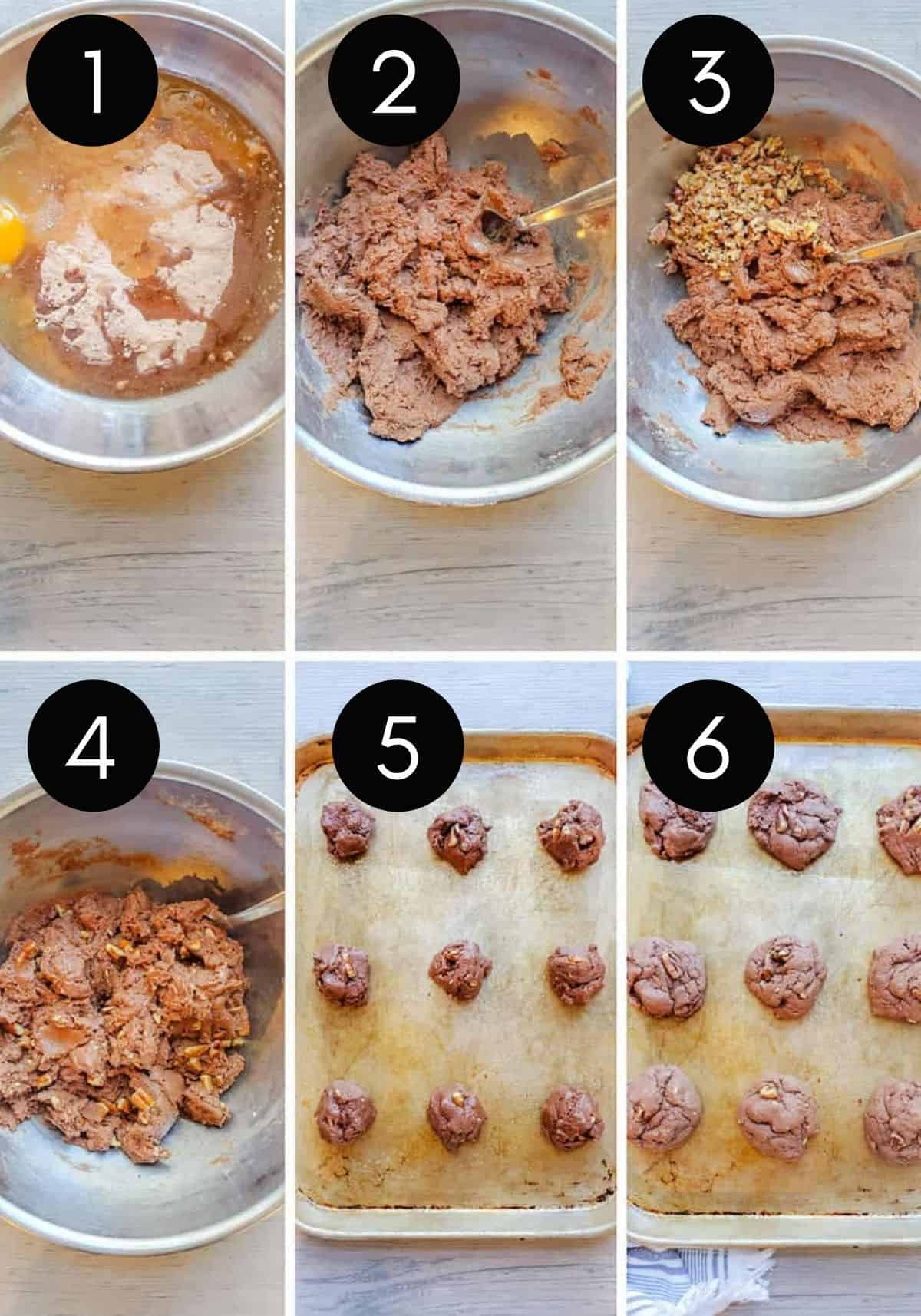 Prep image collage showing 6 images of cookie dough being made then baked.