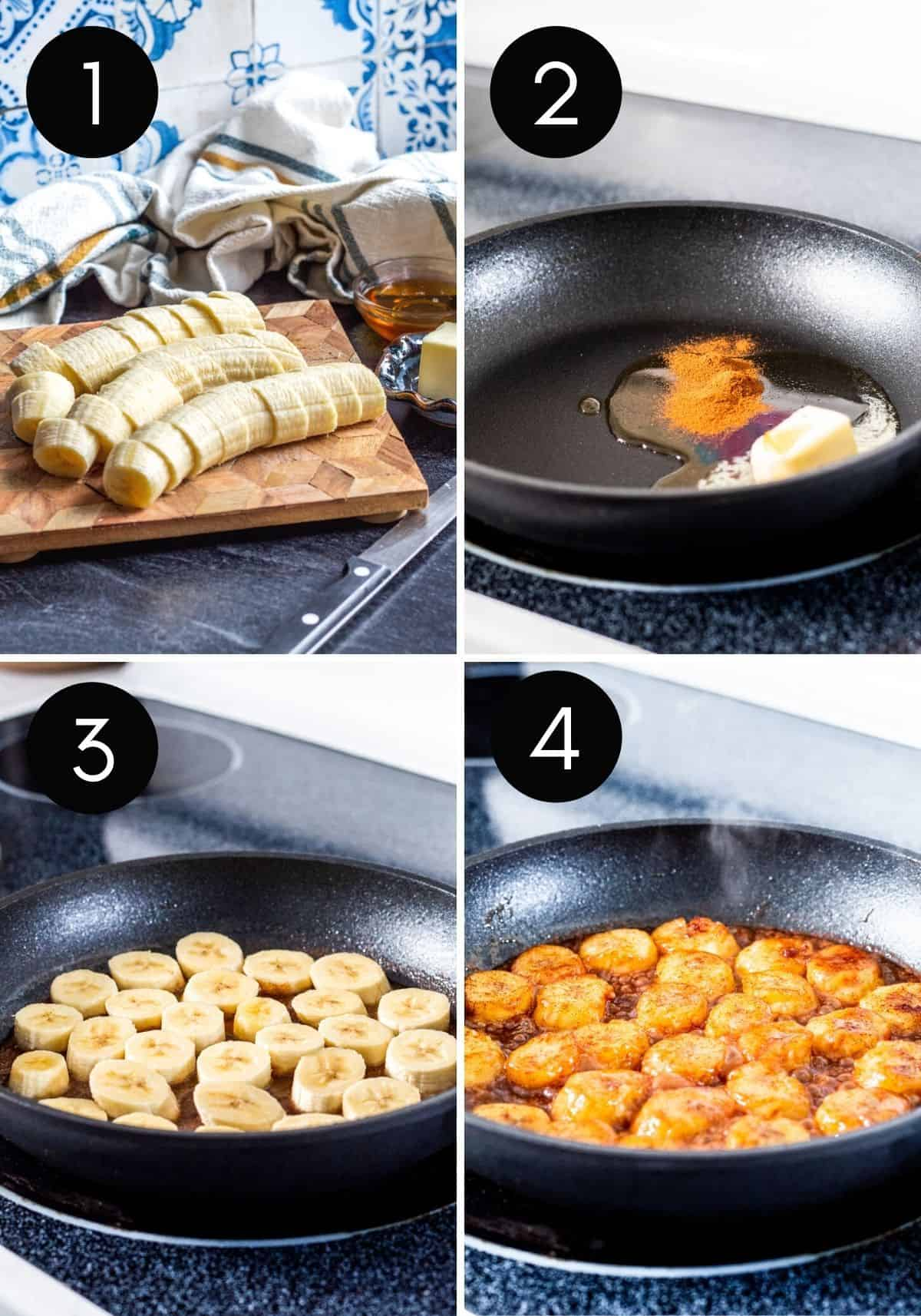 Four image prep collage showing sliced bananas and bananas being fried in pan.