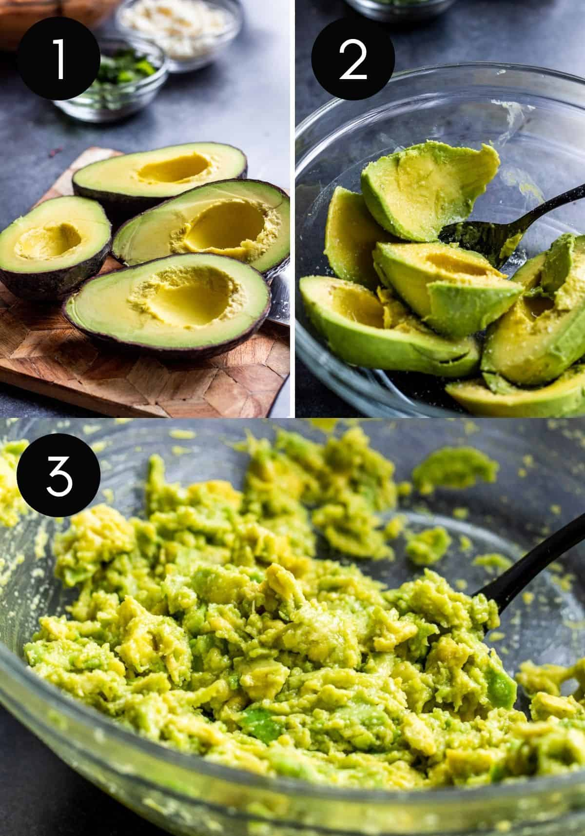 Three prep images showing avocados being prepped.