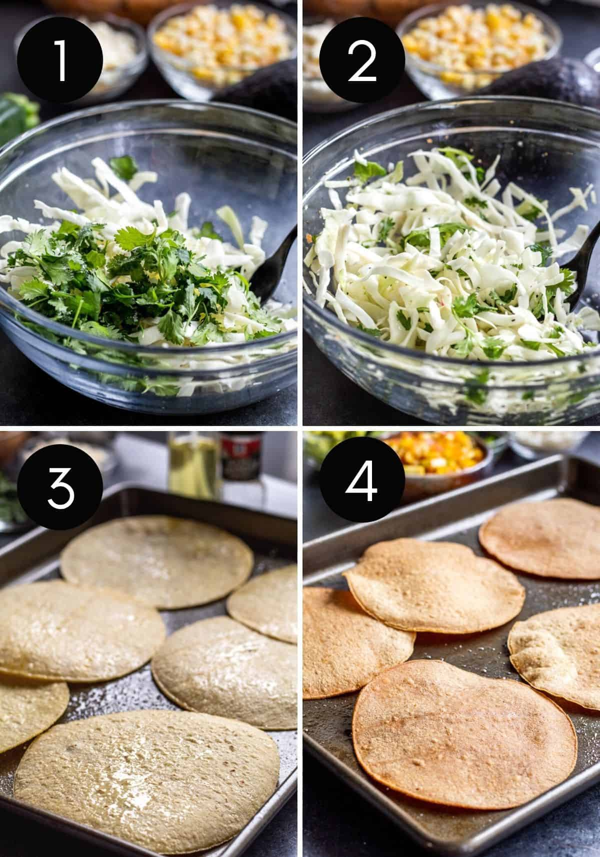Four prep images with numbers showing slaw and tostadas being made.