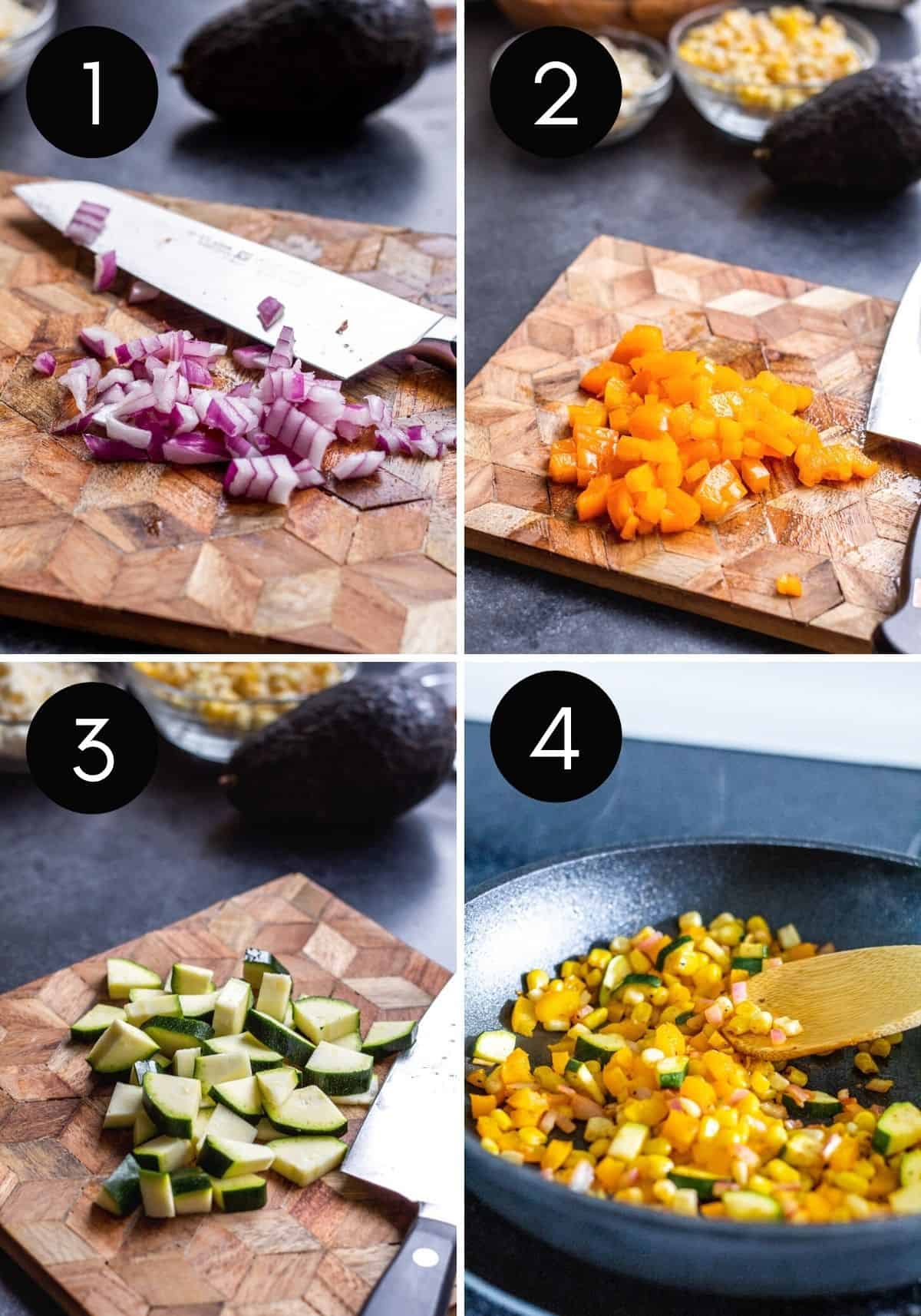 Four prep image collage showing veggies being prepped and cooked in pan.