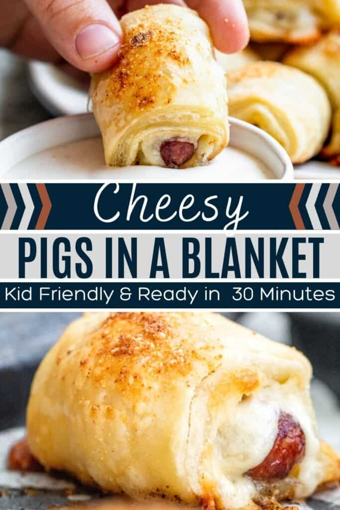 Pin for pigs in a blanket with cheese showing two images of recipe and white and black text overlay.