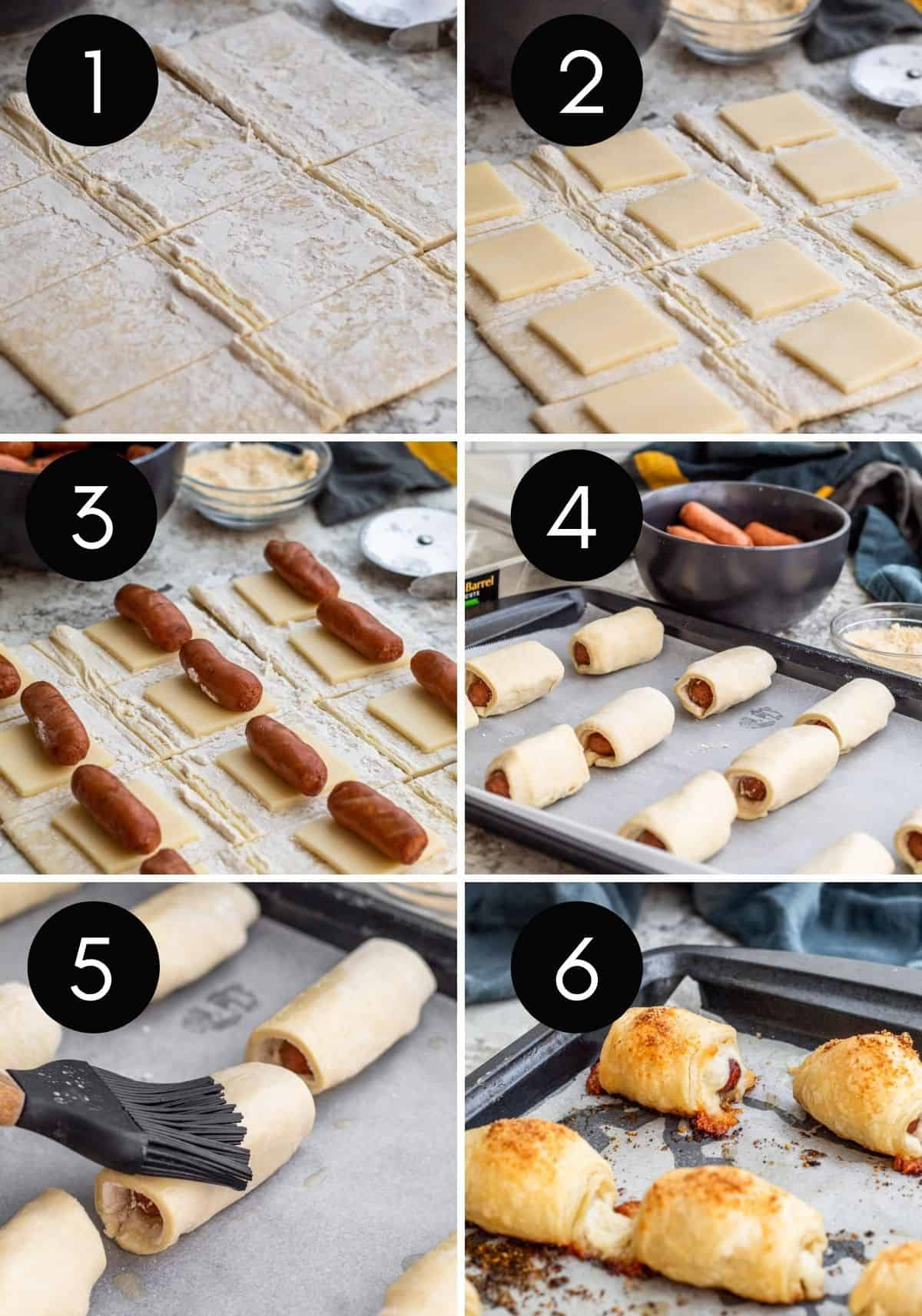 Six image collage of prep for pigs in a blanket.