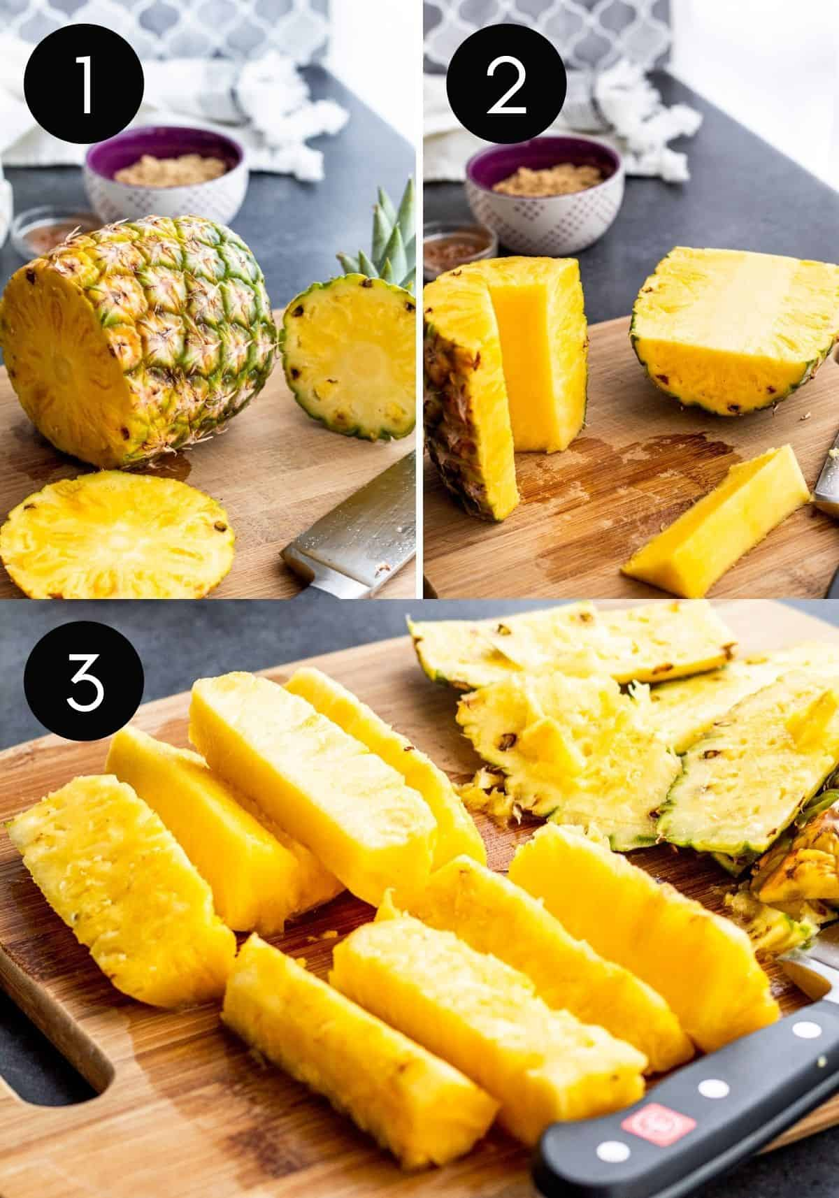 Three image collage showing whole pineapple being sliced into spears.