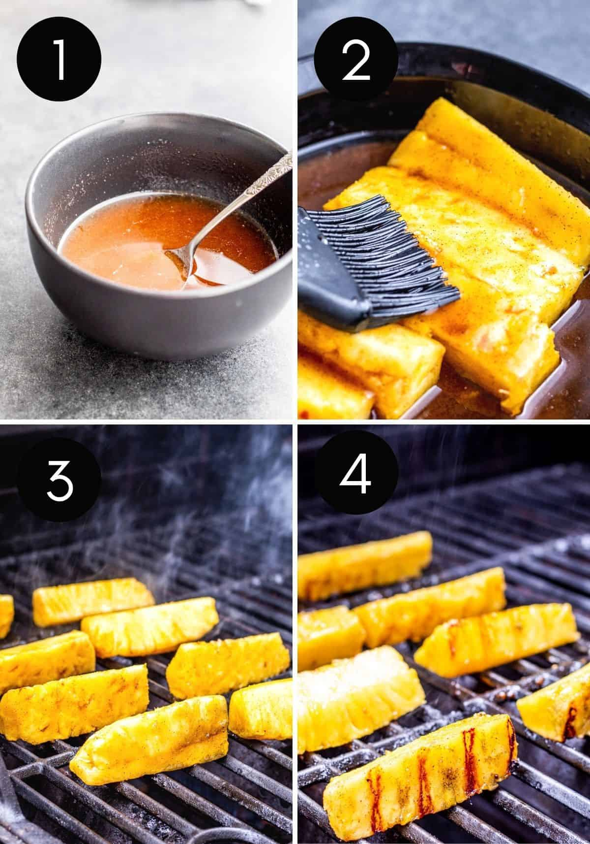 Four prep image collage showing cinnamon sauce being made then pineapples being grilled.