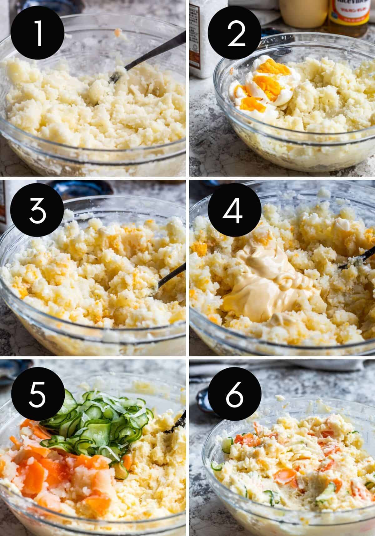 Six image collage chowing potato salad being mixed and combined.