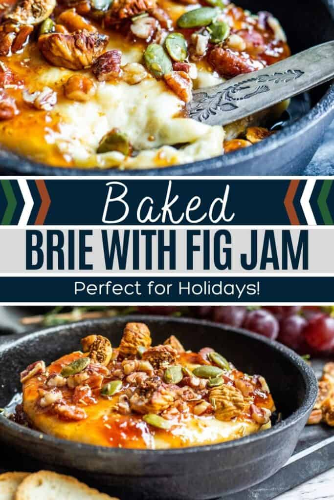 Baked Brie pin with two images of finished recipe and white and blue text overlay.