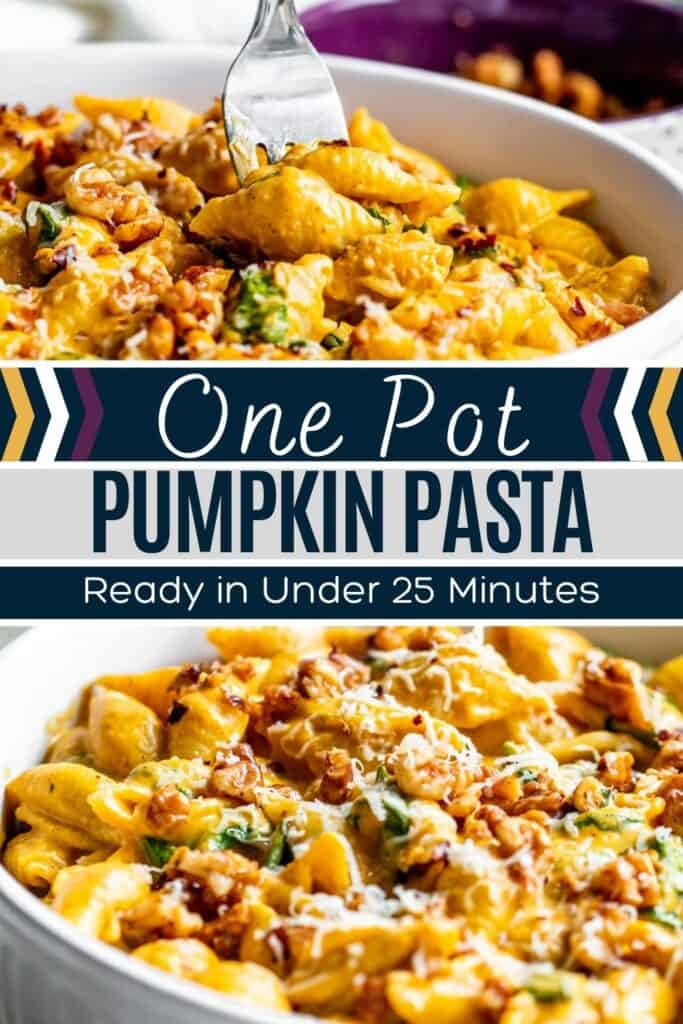 Pin for pumpkin pasta with two finished recipe pictures and white and blue text overlay.