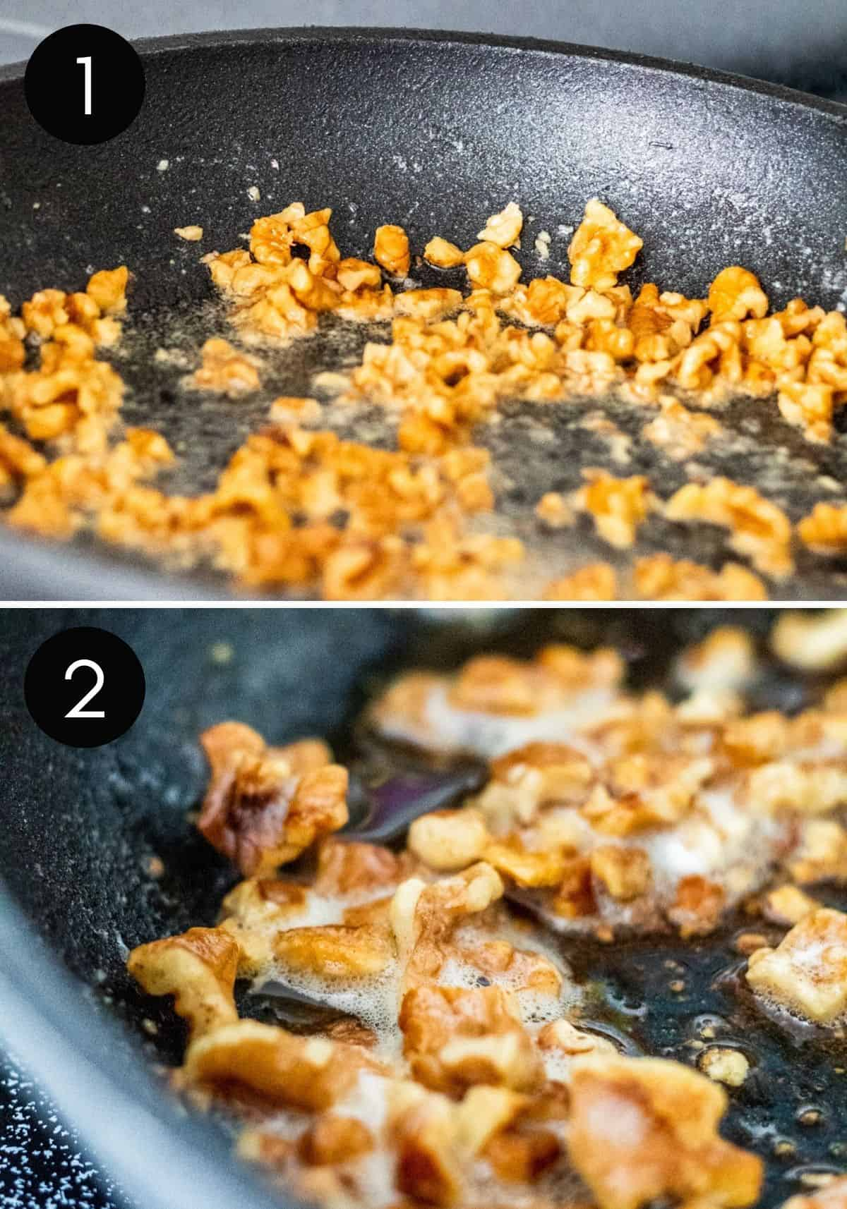 Two prep image collage showing how to cook pecans.