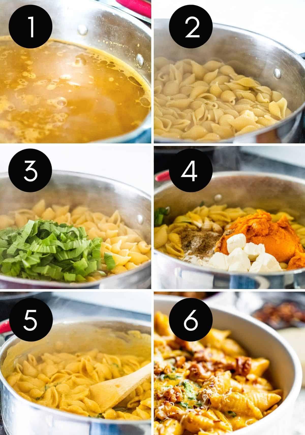 Prep image collage showing steps for making pumpkin pasta.