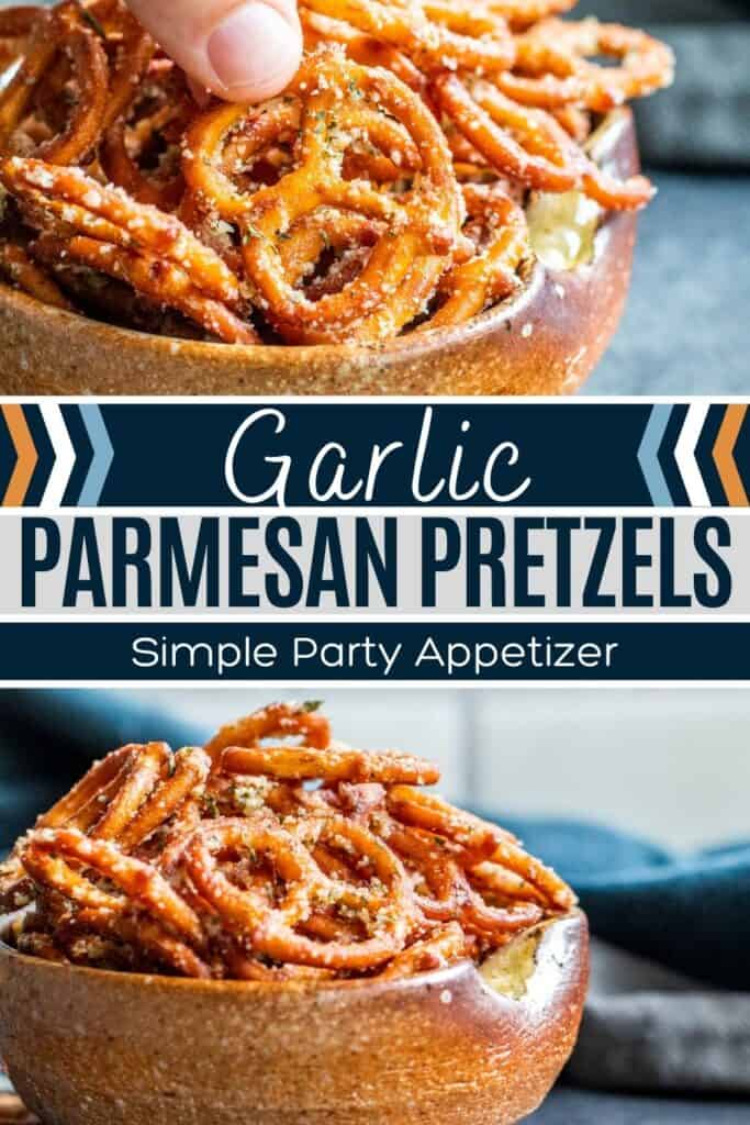 Pin for pretzels showing two finished recipe pictures and white and blue text in the middle.