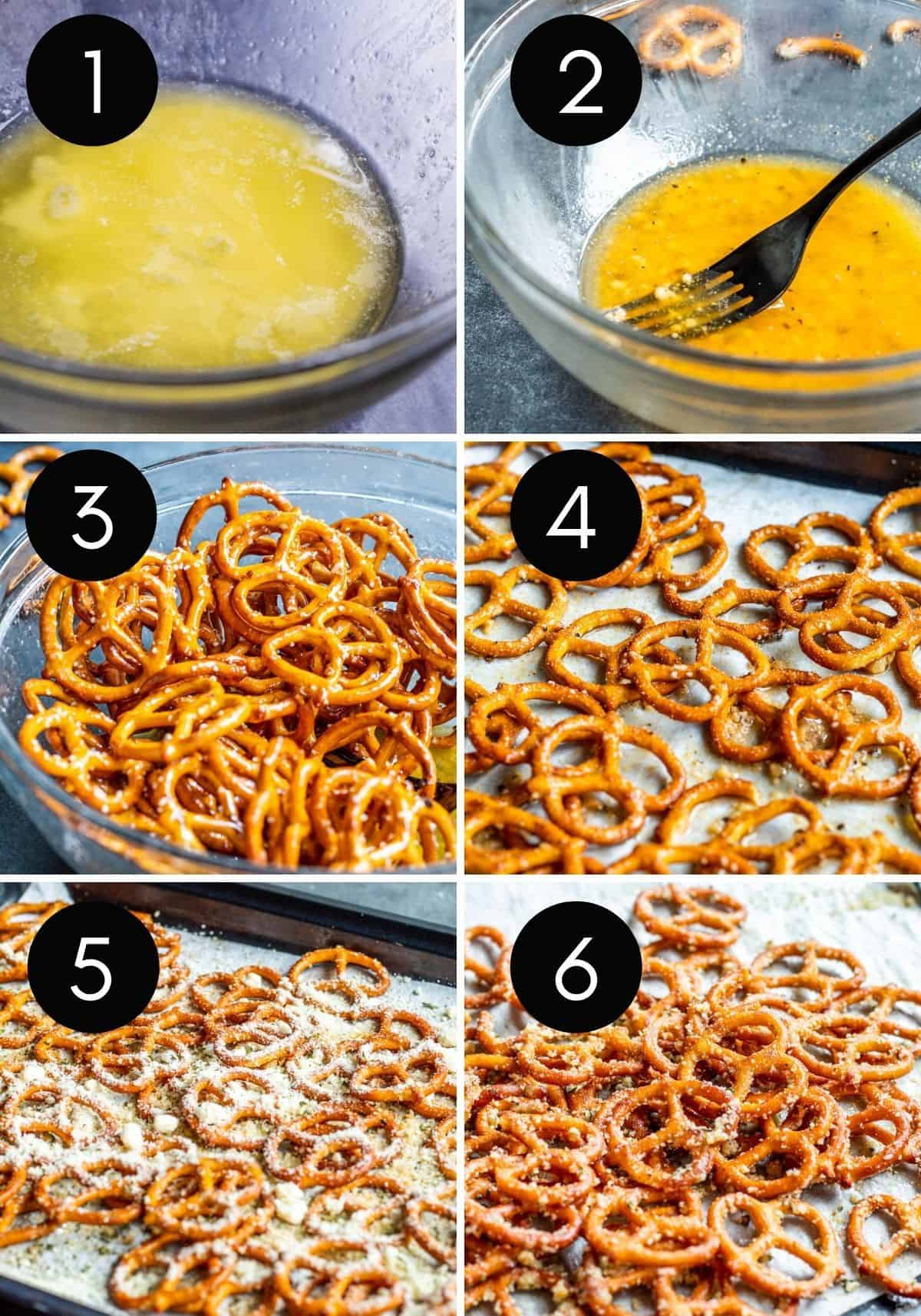 Six prep image collage showing how to make pretzels from start to finish.