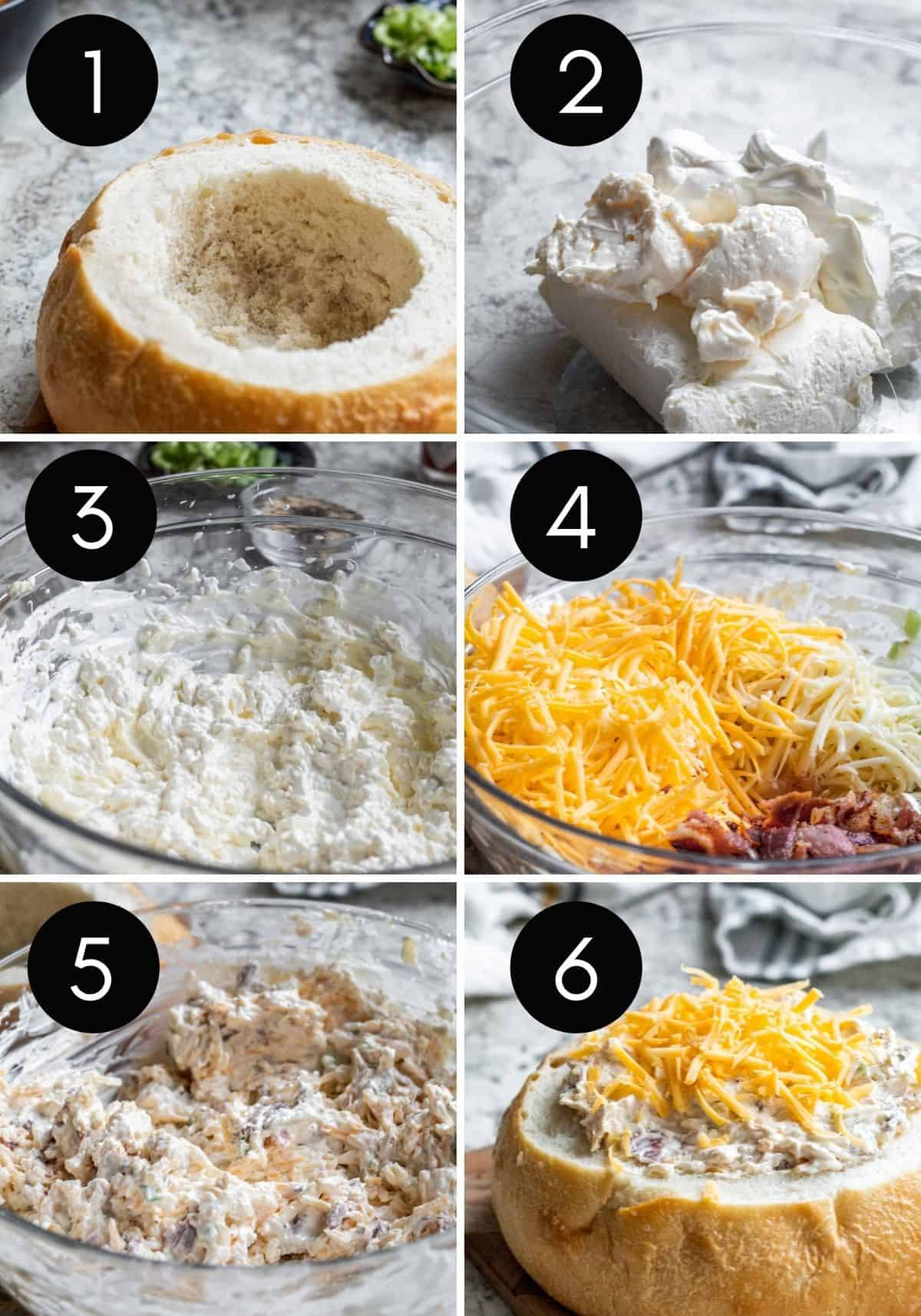 Six prep image collage with white numbers showing steps to make dip.