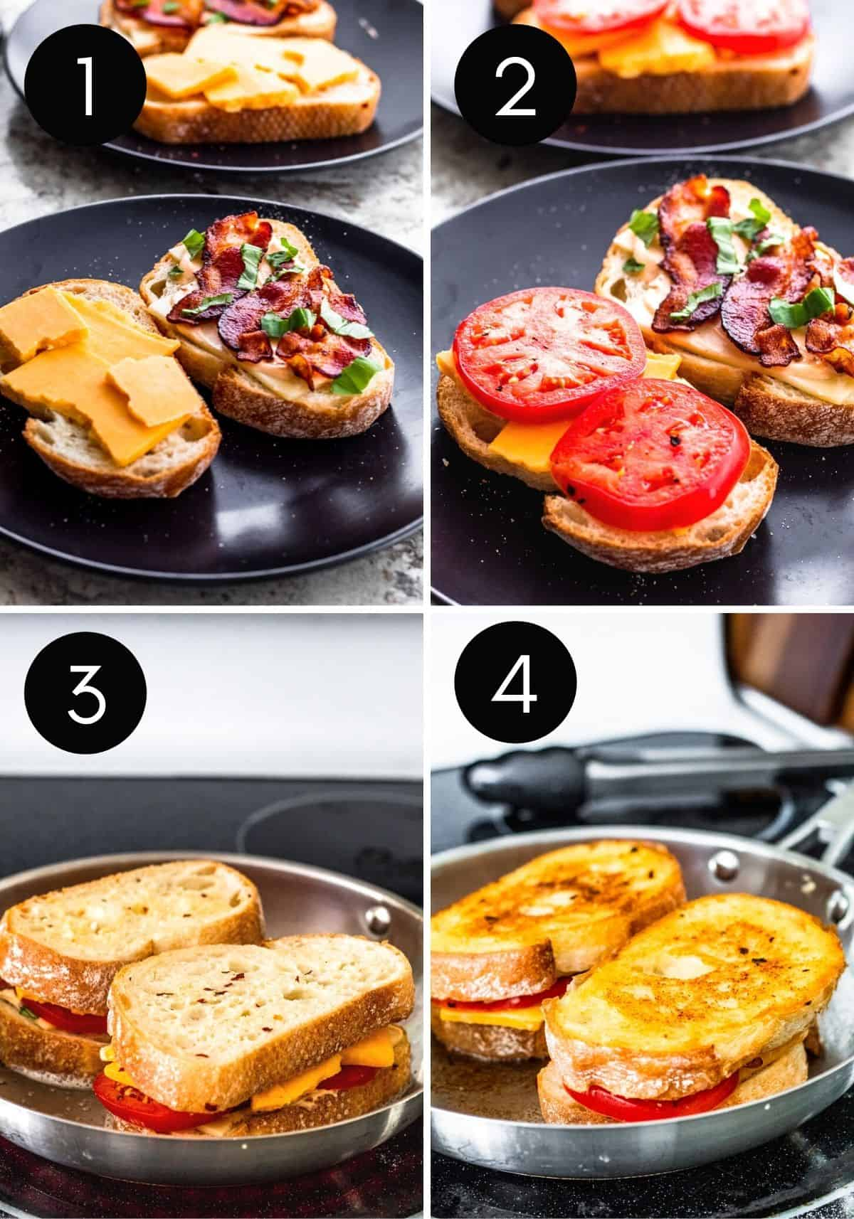 Four image collage with numbers showing finish or prep and cooking the grilled cheese.