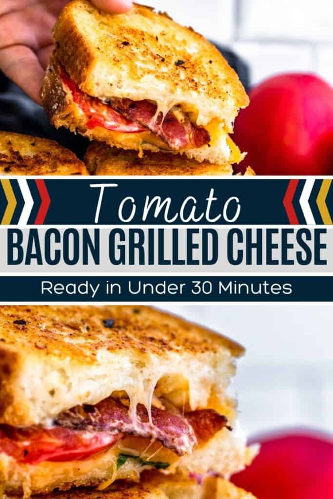 Pin for grilled cheese with bacon showing two images of recipe and white and blue text overlay.