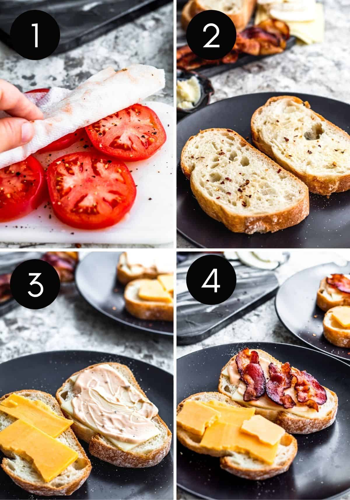 Four image prep collage of tomatoes being prepped and sandwich assembled.