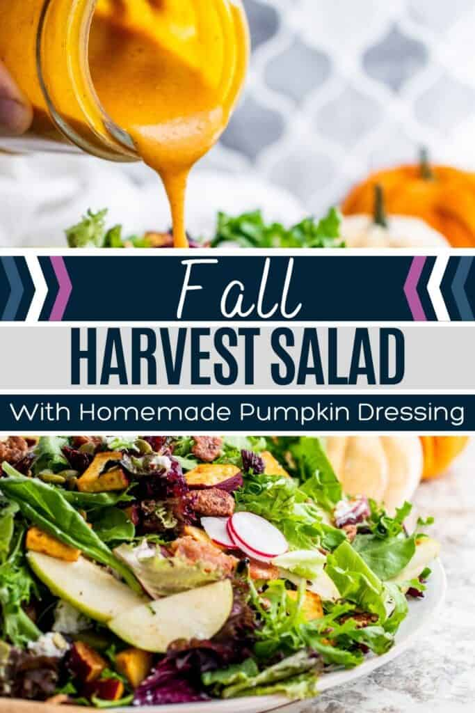 Fall Harvest salad pin with image of dressing and salad on large plate with white and blue text overlay.