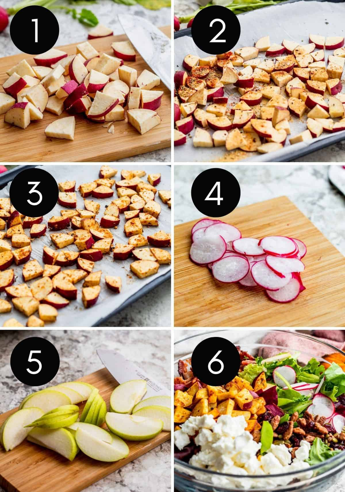 Step by step number collage showing potatoes being prepped and cooked and salad assembled.g